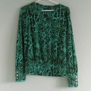 Animal Print Teal Turquoise Blouse